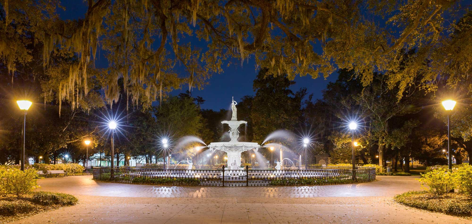 Water fountain at night - Forsyth fountain in historic Savannah, Georgia.